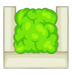 Fence hedge icon cartoon style vector