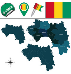 Map of guinea with named regions vector