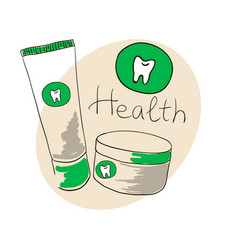Doodle image toothpaste tooth powder doodle vector