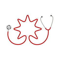 Stethoscope in shape of star in red design vector