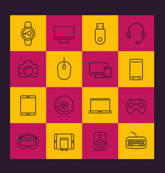 Modern gadgets line icons pack vector
