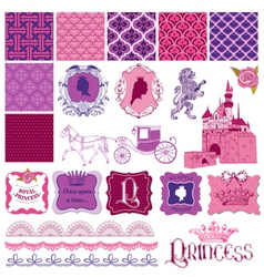 Scrapbook design elements - princess girl birthday vector