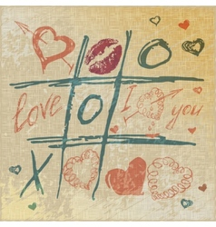 Tic tac toe hearts valentine background the vector