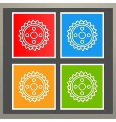 Set of four wheels for a tractor vector image