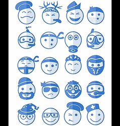 20 smiles icons set profession blue vector