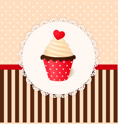 Vintage invitation card with heart on cream cake vector image