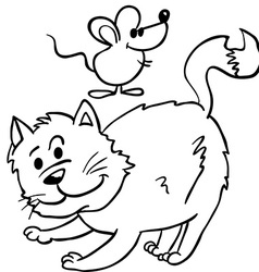 Simple black and white cat and mouse cartoon vector