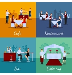 Catering concept icons set vector