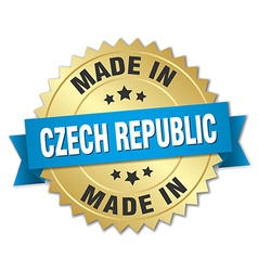 Made in czech republic gold badge with blue ribbon vector