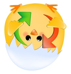 Chick with refresh arrows vector image