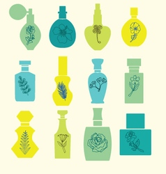 Set with vintage cosmetic and perfume bottles vector
