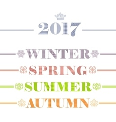 Idyllic four seasons text logo set winter spring vector