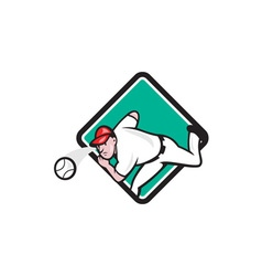 Baseball pitcher outfielder throw ball diamond vector