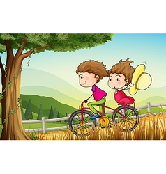 A couple riding on a bicycle vector image vector image