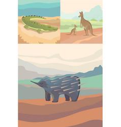 Australian animals crocodile kangaroo and vector