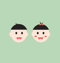 Baby boy and girl smiling and show first teeth vector