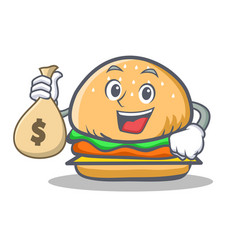 Burger character fast food with money bag vector