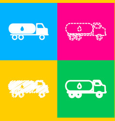 Car transports oil sign four styles of icon on vector