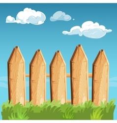 Cartoon rural wooden fence blue sky vector image vector image