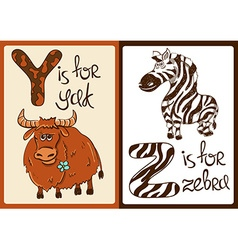 Children alphabet with funny animals yak and zebra vector