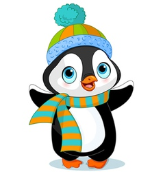 Cute winter penguin vector image