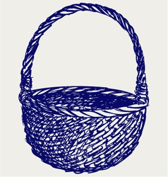 Empty wicker basket vector image vector image