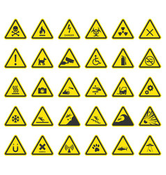 hazard warning signs caution icons vector image vector image
