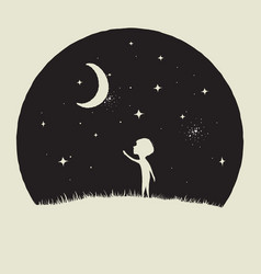 little kid boy looks to crescent moon vector image