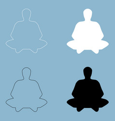 meditation man the black and white color icon vector image