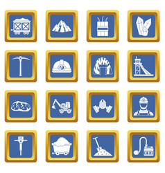 Miner icons set blue vector