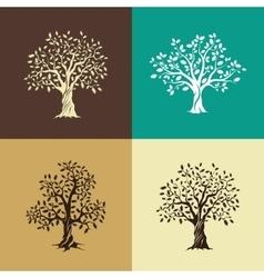 oak trees silhouette set vector image
