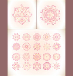 pink mandala laces set vector image