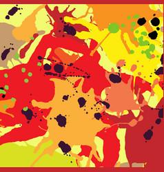 Red orange maroon ink splashes background vector