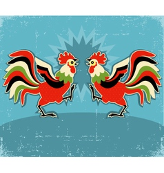rooster fight color background vector image vector image