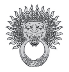 silver lion head on black background door vector image vector image