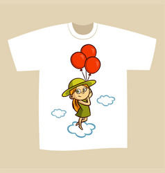 T-shirt print design girl with balloons vector