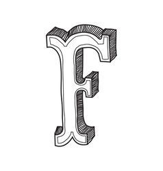 The vintage style letter F vector image