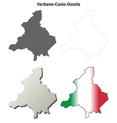 Verbano-Cusio-Ossola blank outline map set vector image