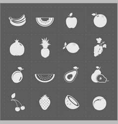White fruit icon set on grey background vector