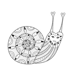 zentangle Snail for adult coloring pages art vector image