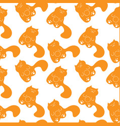Cute seamless pattern with sleepy ginger cats vector