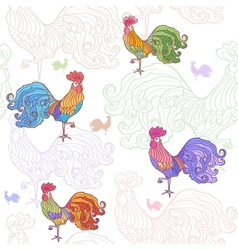 Cockerel pattern vector