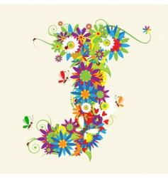 letter J floral design vector image