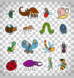 Funny insects stickers on transparent background vector