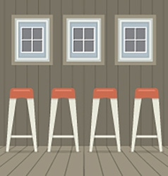 Four stool chairs under three windows vintage vector