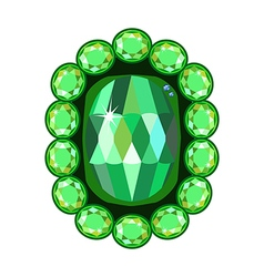 Emerald brooch vector