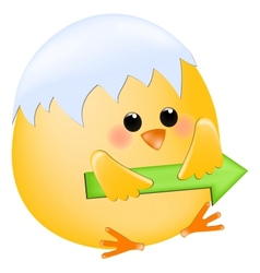 Chick with right arrow vector