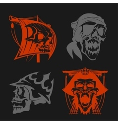 Pirate symbols - emblems set vector