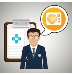 Doctor stethoscope specialist history clinic vector