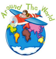 Around the world by airplane vector